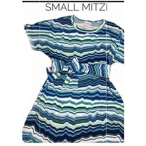 Lularoe S Mitzi Sash Top Dress Blue Green White Stripes NWT